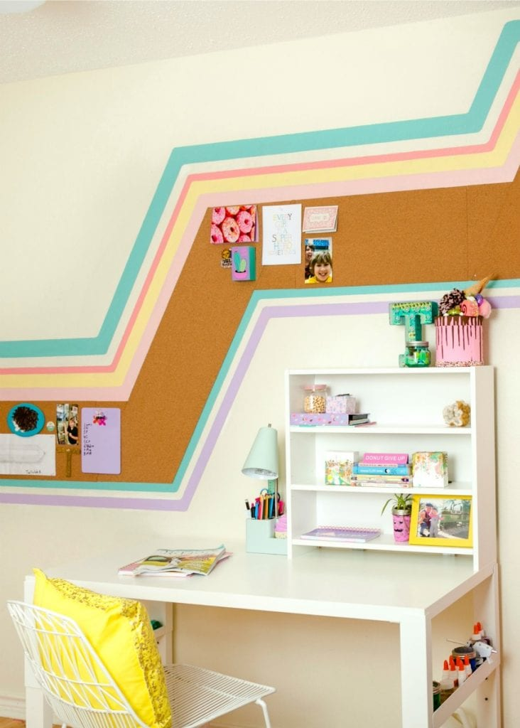 DIY mural for a tween room with a built in cork board and 70's vibe by Jennifer Perkins