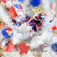 DIY decorations for a white 4th of July Christmas tree by Jennifer Perkins