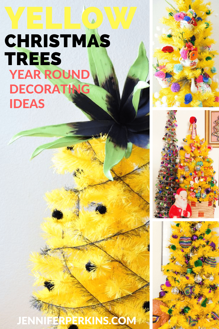 Year round decorating ideas for a yellow Christmas tree by Jennifer Perkins