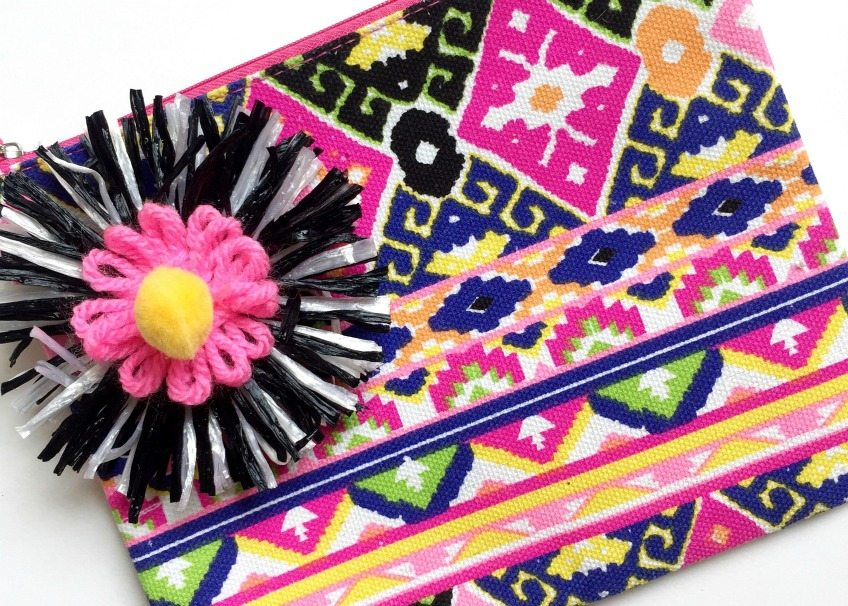 Embellish a ready made purse with DIY raffia flowers by Jennifer Perkins