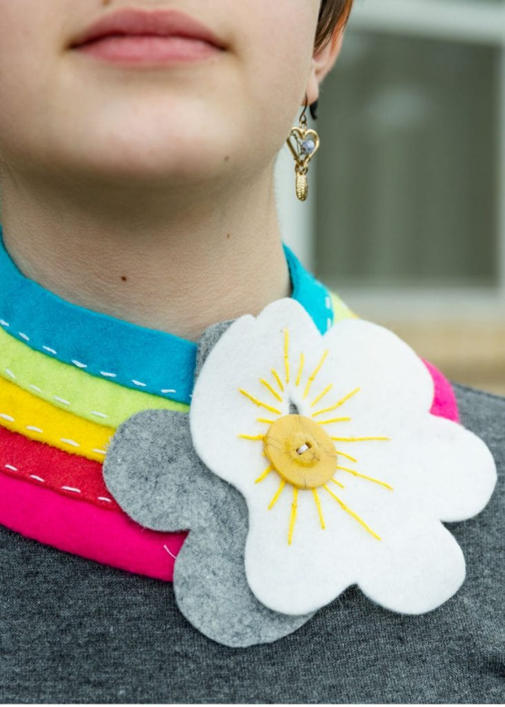 Felt rainbow collar with embroidered cloud by Jennifer Perkins