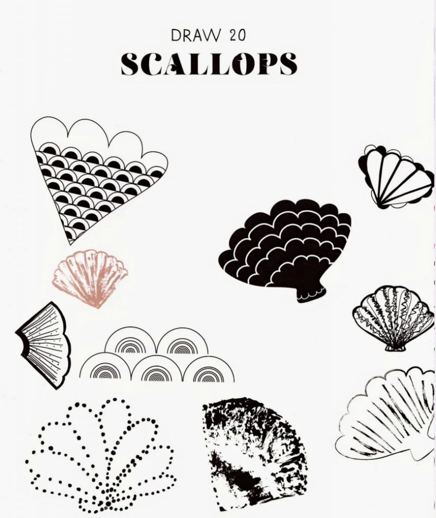 20 Ways to draw a doodle scallops drawing prompt