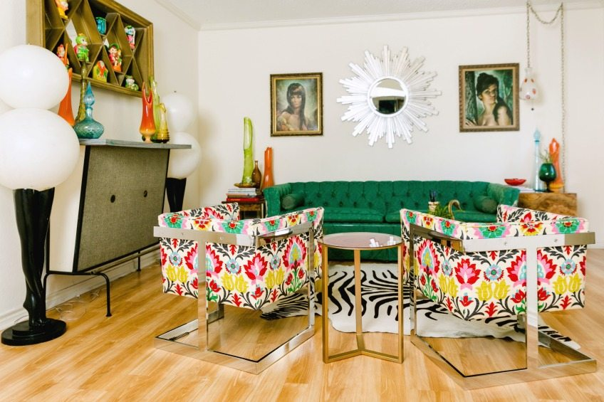Jennifer Perkins house with colorful midcentury decor.