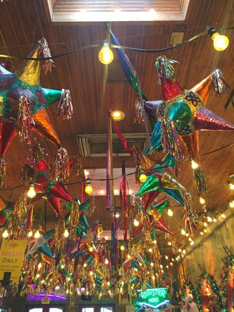 Pinatas hanging at Mi Tierra in San Antonio.