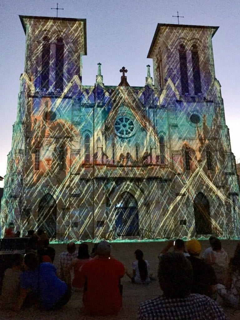 Projected art on cathedral in Main Plaza.