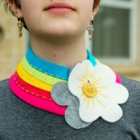 diy rainbow collar with clouds made of felt