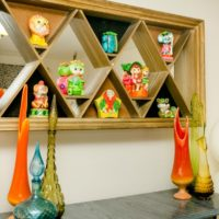 Vintage midcentury shadowbox and Italian glass collection by Jennifer Perkins