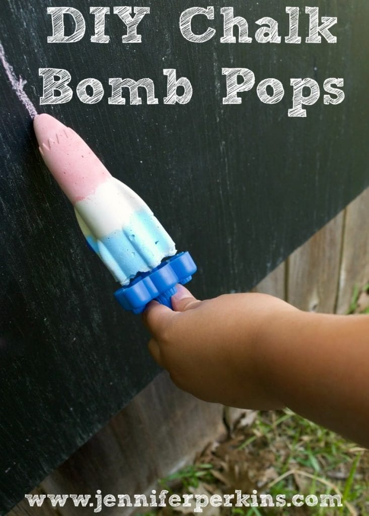 DIY bomb pop shaped chalk popsicles by Jennifer Perkins