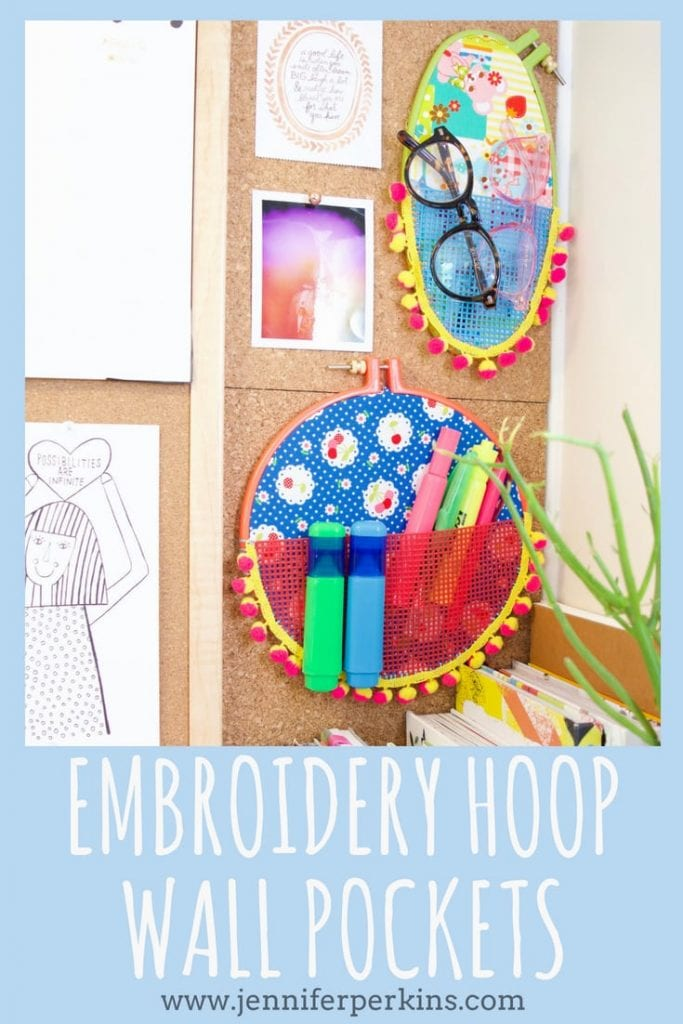 Embroidery hoop craft idea - wall pockets by Jennifer Perkins