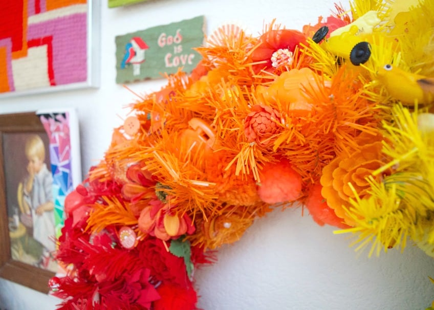 decorations for an orange wreath.