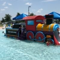 Rockin River Express train at the pool in Round Rock.