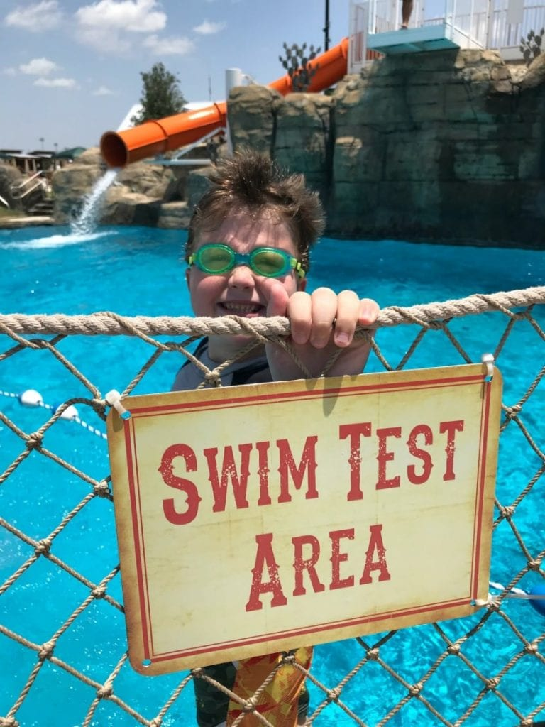 Swim test area at pool in Round Rock.