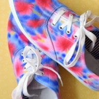 How to make a pair of shoes look red, white and blue tie-dyed with sharpie markers.
