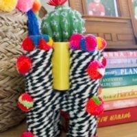 yarn covered diy planter with pompoms on a shelf.