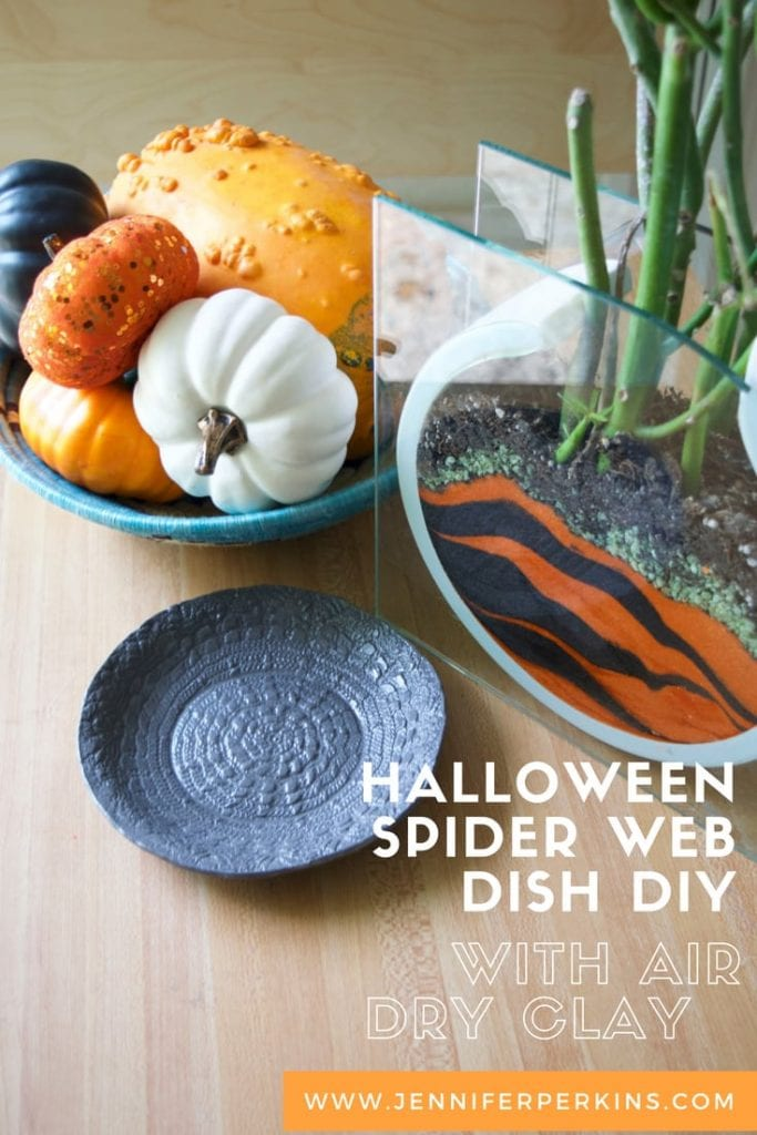 Halloween spider web dish made with air dry clay by Jennifer Perkins