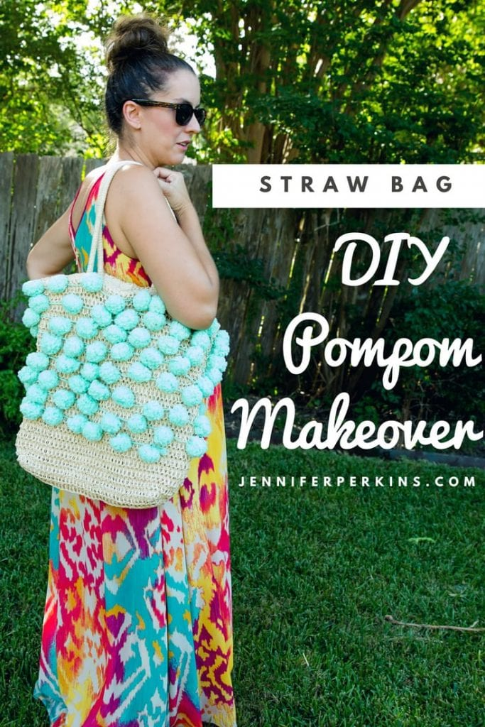 Give a straw bag a DIY pompom makeover.