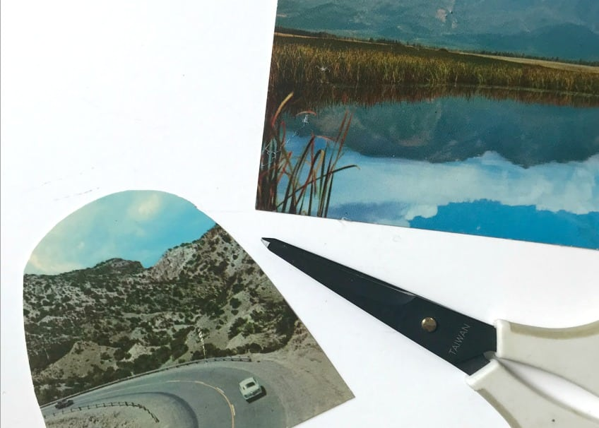 Postcards with scenic scenes cut to fit inside DIY snow glove ornaments.