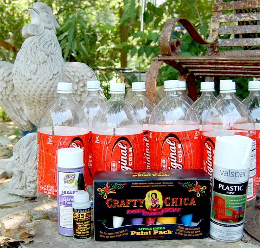 Recycled bottles lawn bowling