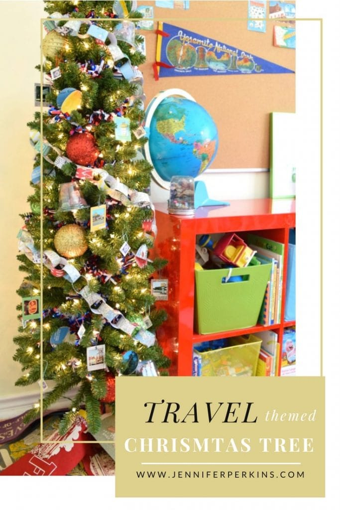 Tree with summer traveling themed DIY decorations.