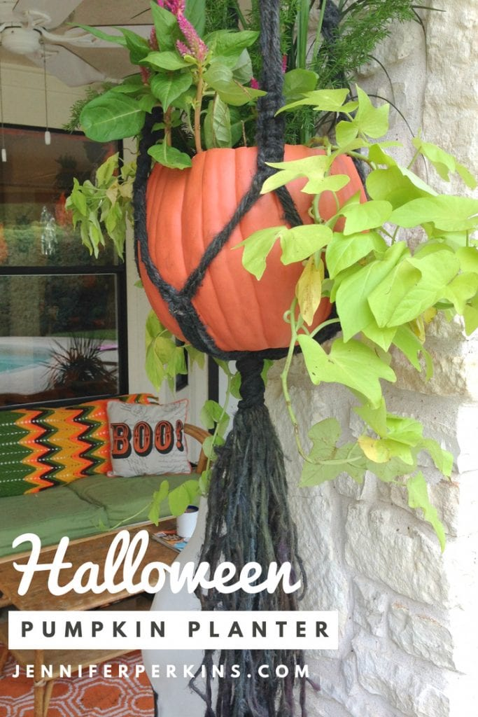 How to make a pumpkin into a hanging planter by Jennifer Perkins