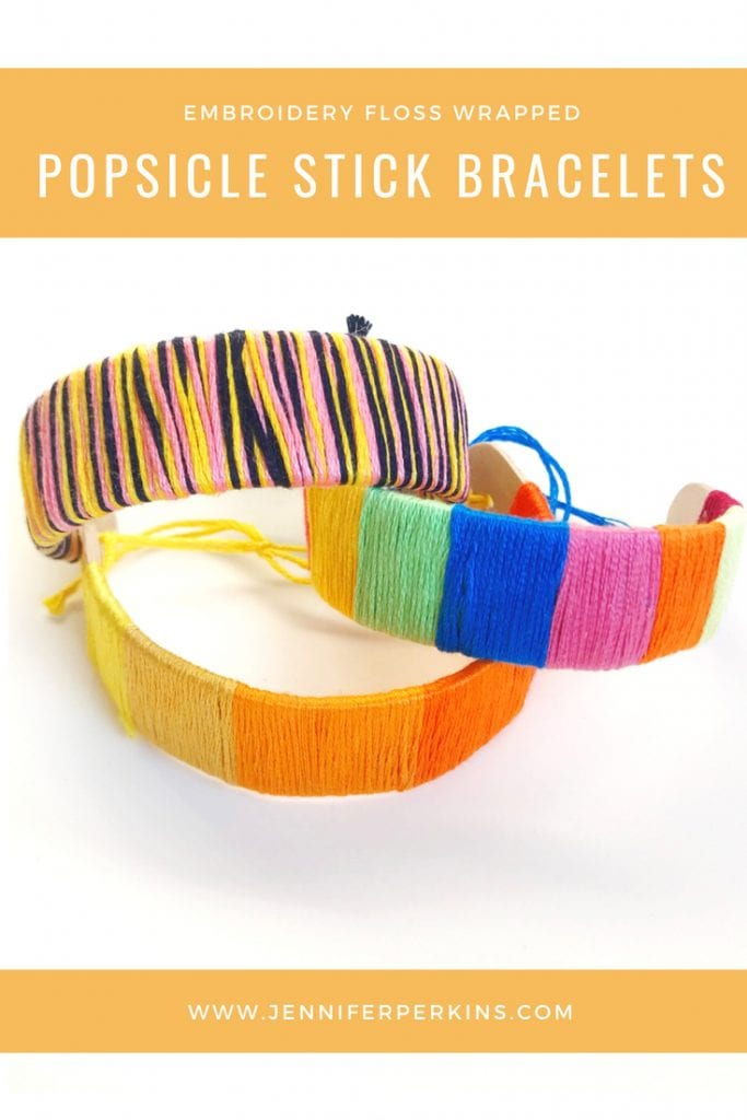 Embroidery floss wrapped bracelets made from popsicle sticks