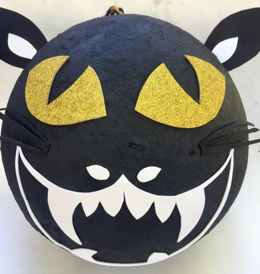 Finished Paper Mache Cat Piñata by Jennifer Perkins