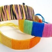 craft stick bracelets covered in embroidery thread
