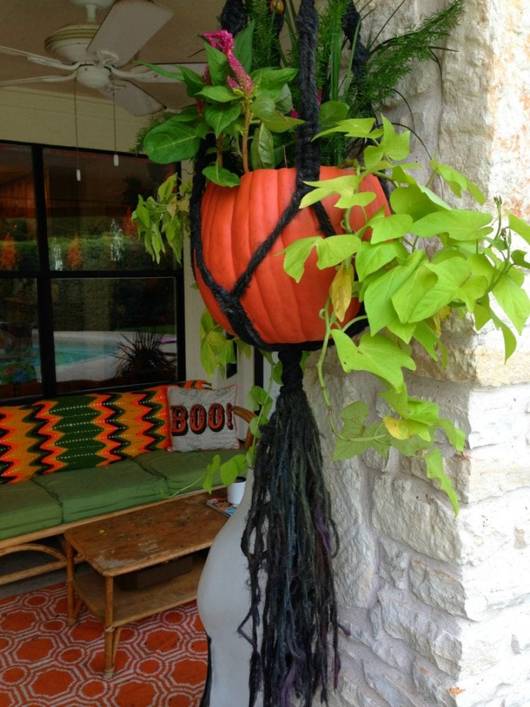 Pumpkin Planter Hanging Basket made from jute dyed black