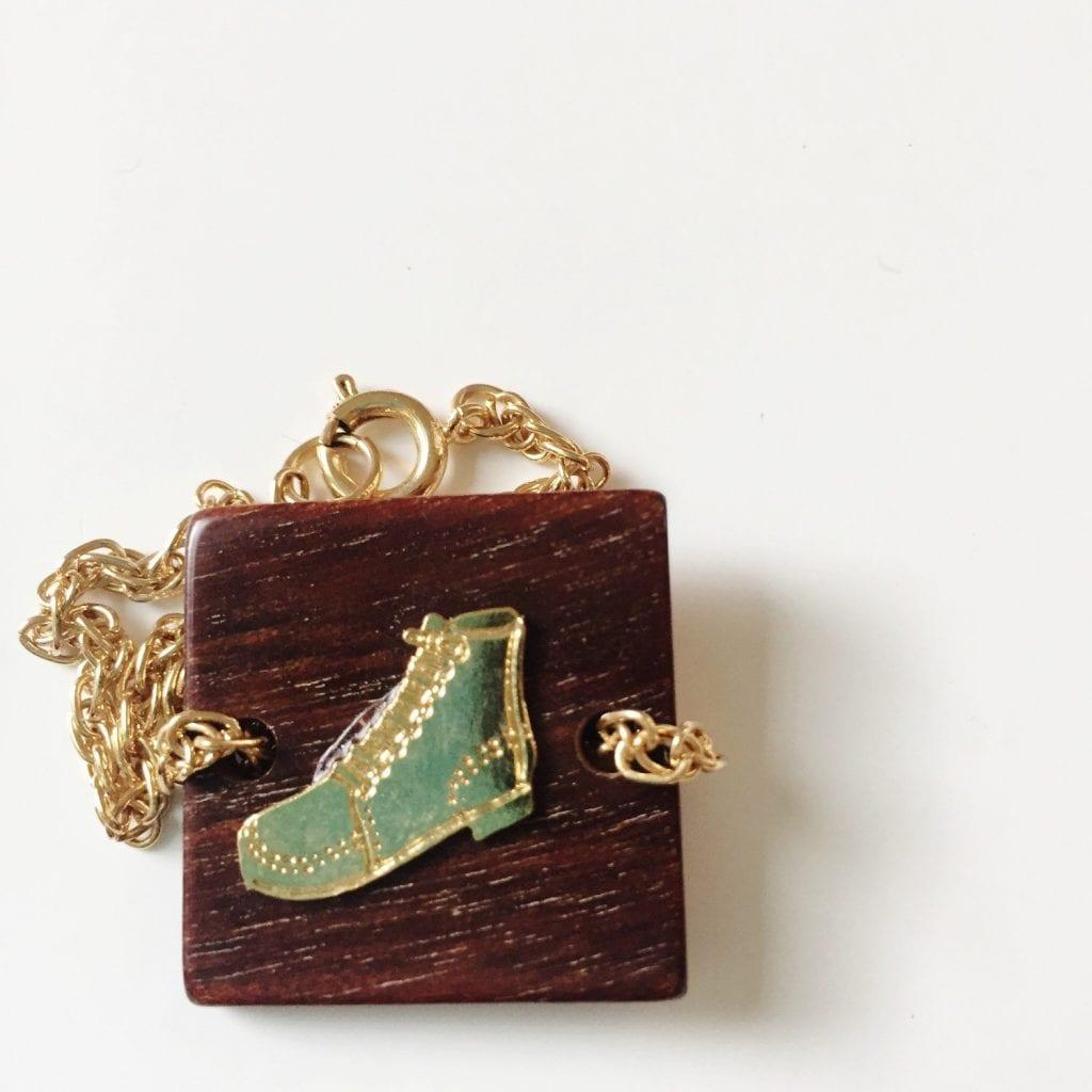 Vintage wooden boot bracelet