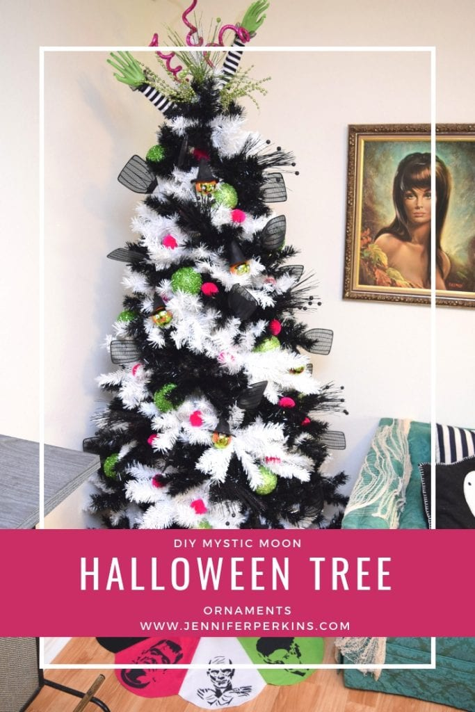 DIY Halloween tree ornament for a striped tree