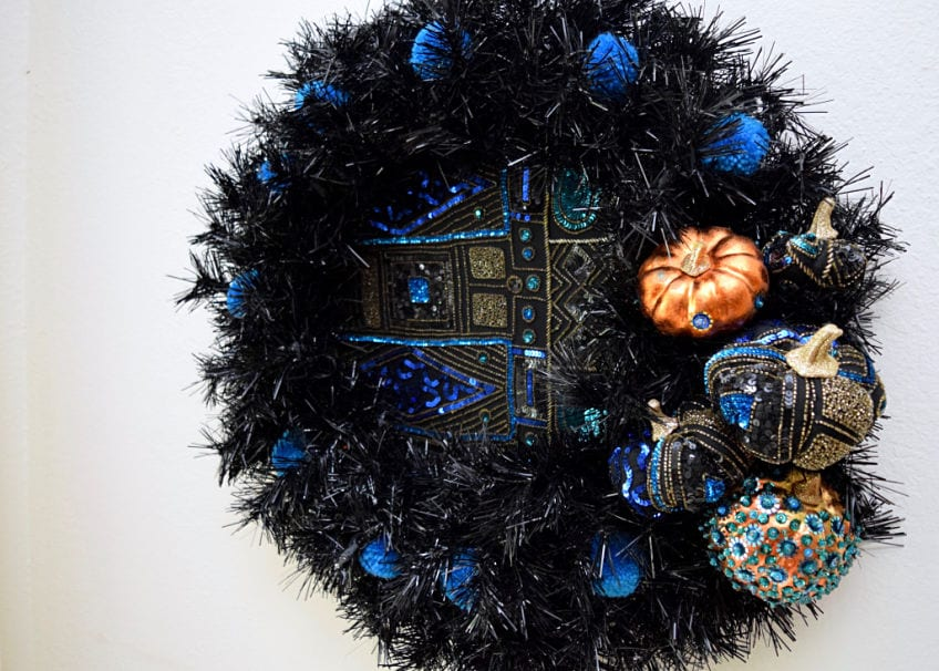 Teal pumpkin wreath with sequined pumpkins