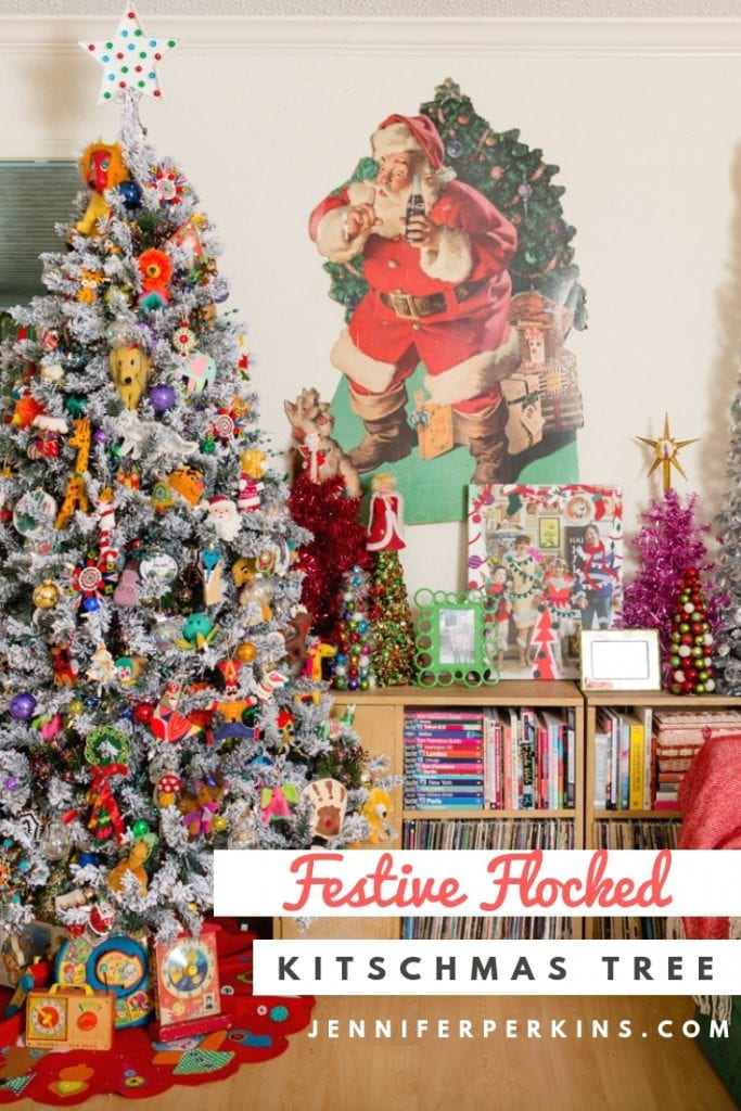 Festive Flocked Kitschmas Tree by Jennifer Perkins