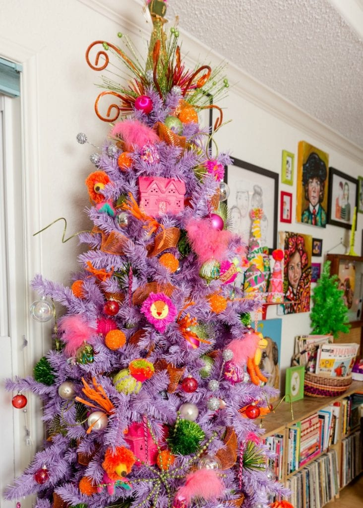 Colorful purple kitschmas tree with diy neon ornaments