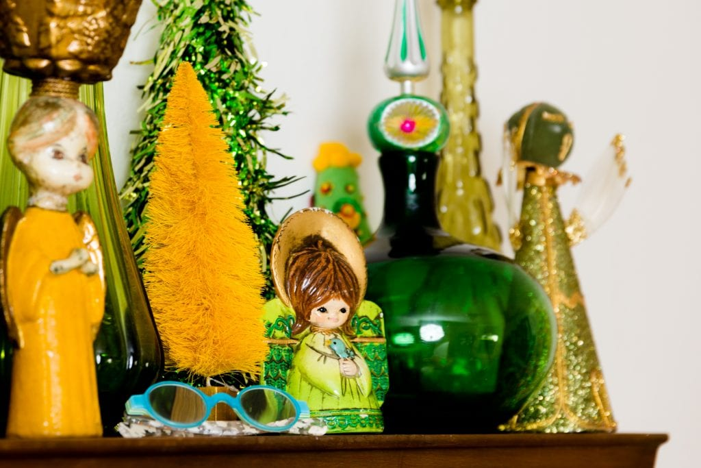Vintage kitschmas angels and green glass