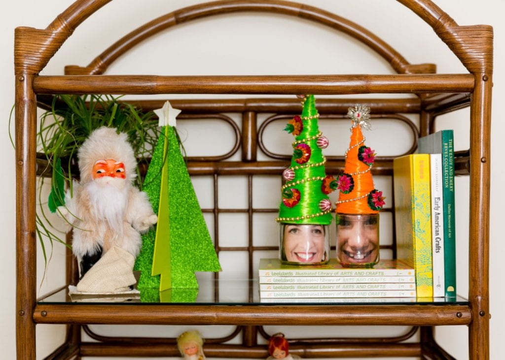 Shelf with beehive hair holiday portraits