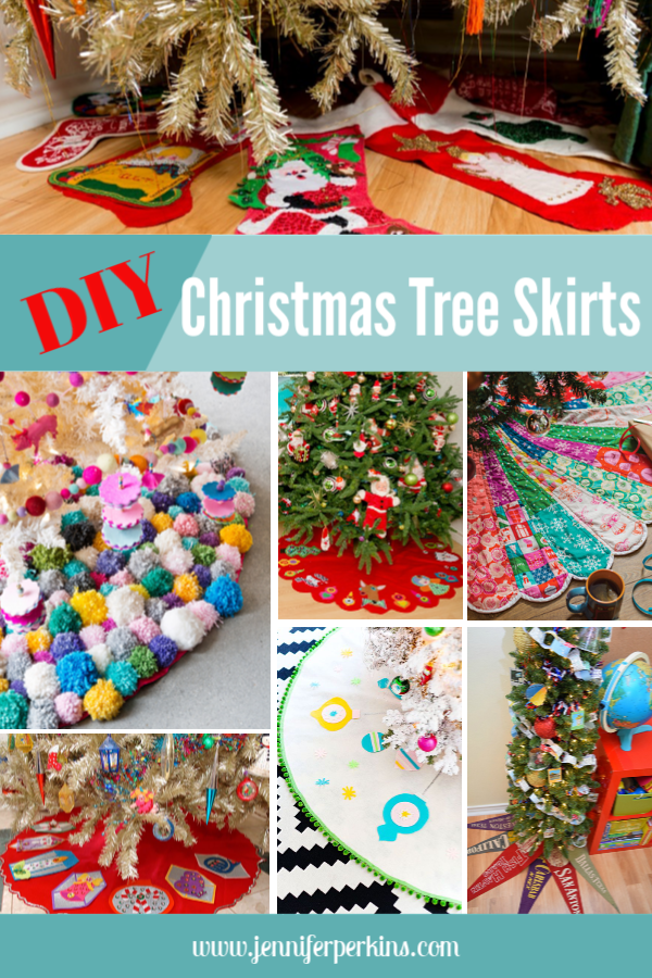 Roundup of DIY Christmas tree skirt ideas from Jennifer Perkins