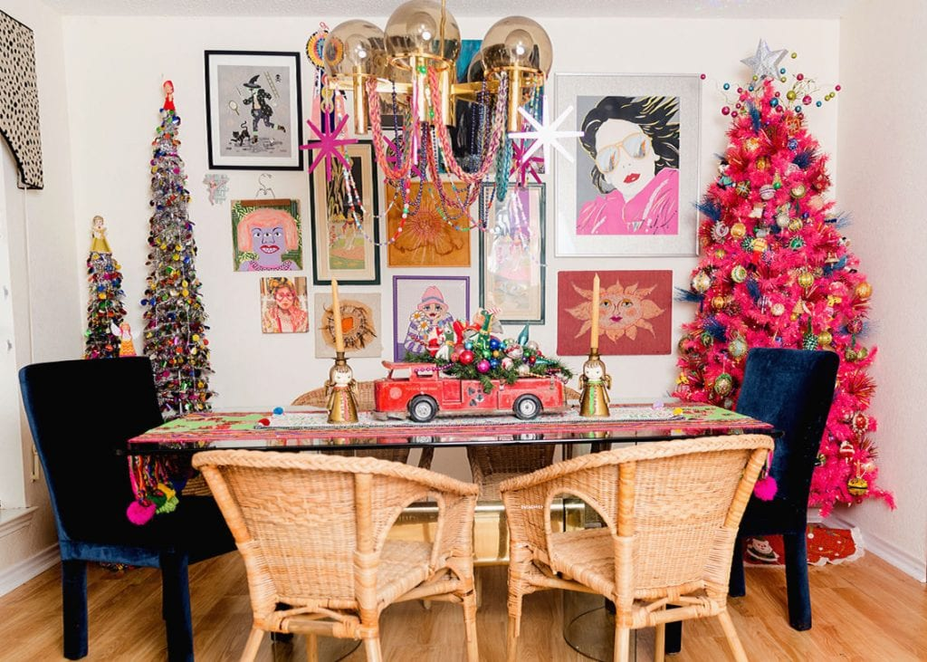 eclectic crafts room tiny eclectic dining room decorated for christmas holiday home tour boho christmas vibes in the dining room