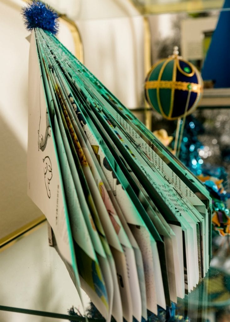 DIY magazine Christmas tree with folded pages