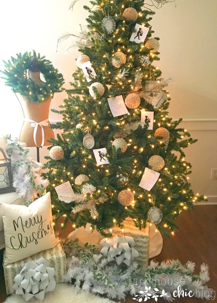Green Christmas tree with a farmhouse chic theme