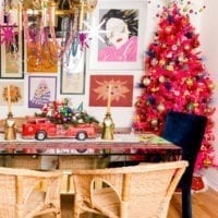 Hot pink Christmas tree in the corner of the dining room