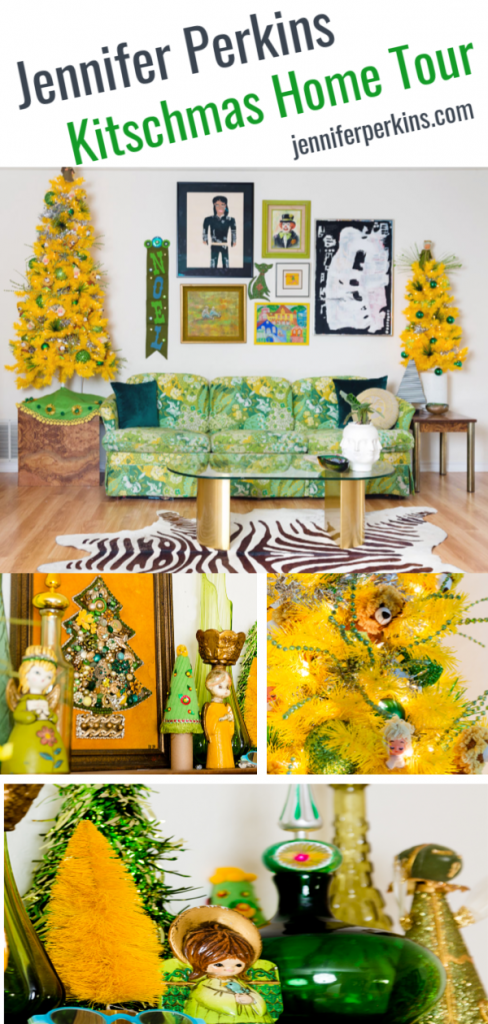 Jennifer Perkins Kitschmas Home Tour with yellow and green