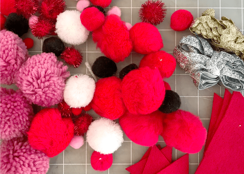 Supplies for making DIY pompom ornaments