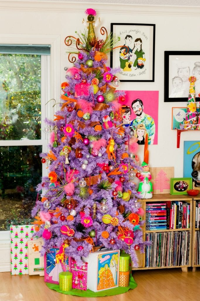 Lavender Christmas tree with DIY stocking cap ornaments