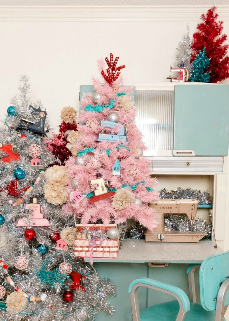 Pink Christmas tree with a sewing theme