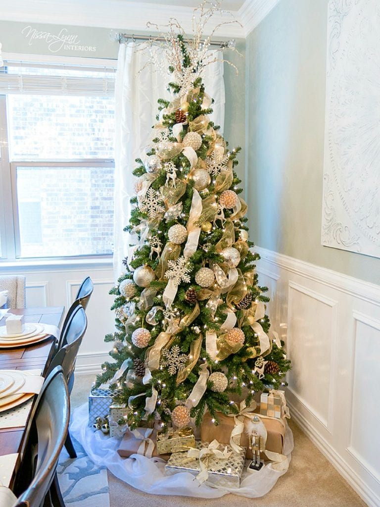 Elegant Noble Fir Christmas tree in a dining room