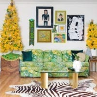 Pair of yellow Christmas trees
