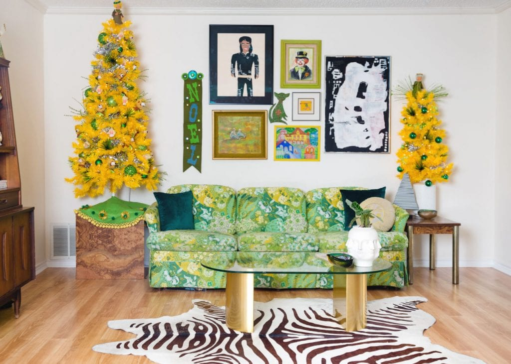 Pair of yellow Christmas trees