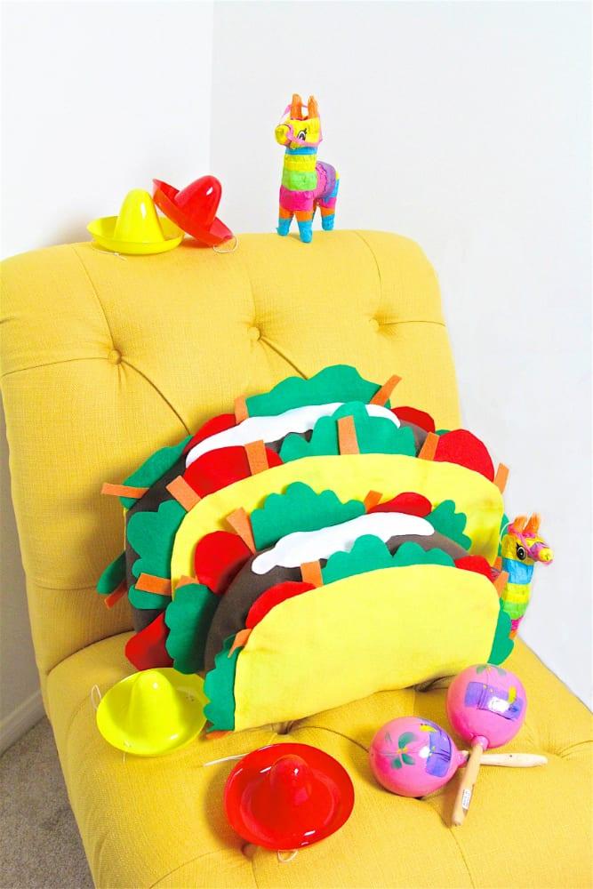no sew felt taco pillow