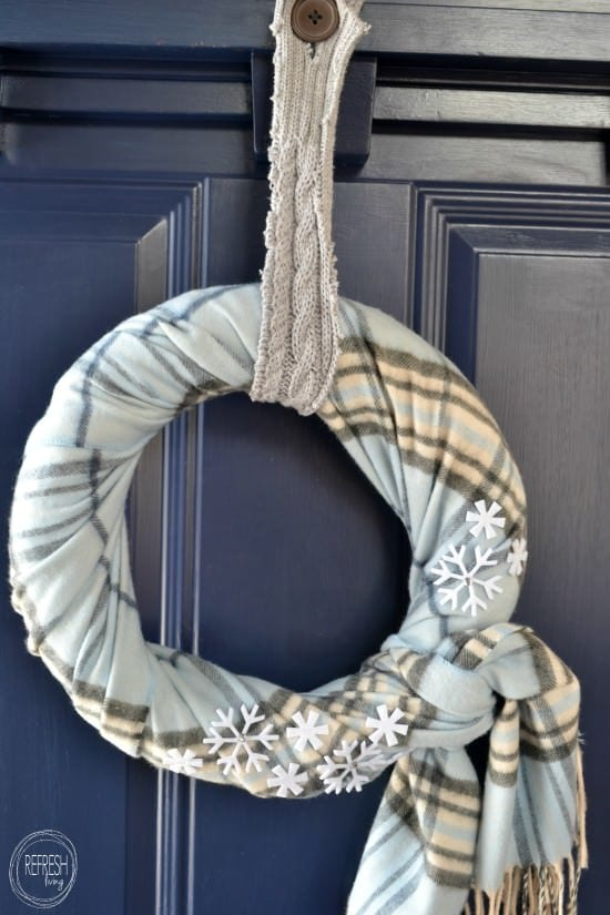 DIY Winter Scarf Wreath - Refresh Living