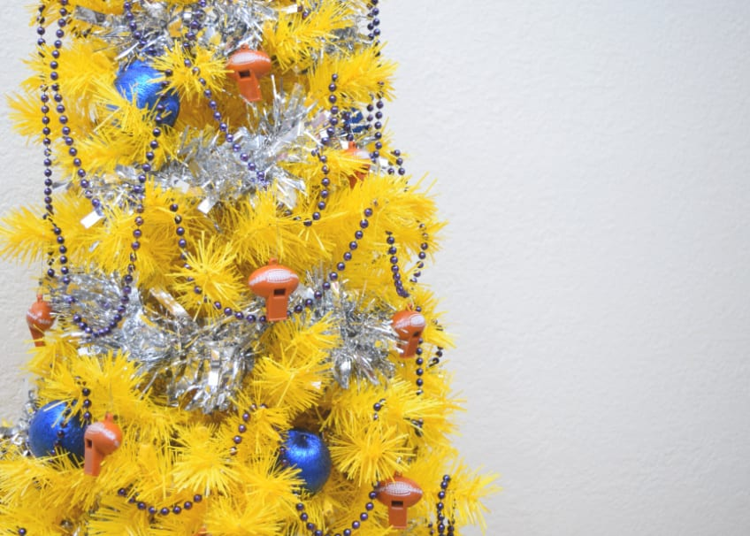 Decorate a Christmas tree with a super bowl theme!